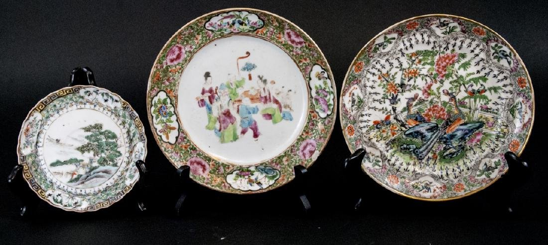 Three Chinese Hand Painted Porcelain Plates