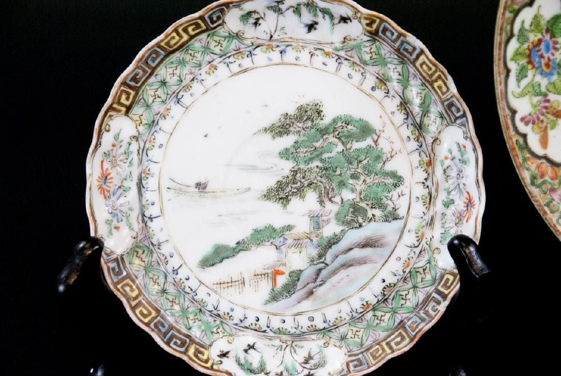 Three Chinese Hand Painted Porcelain Plates - 6