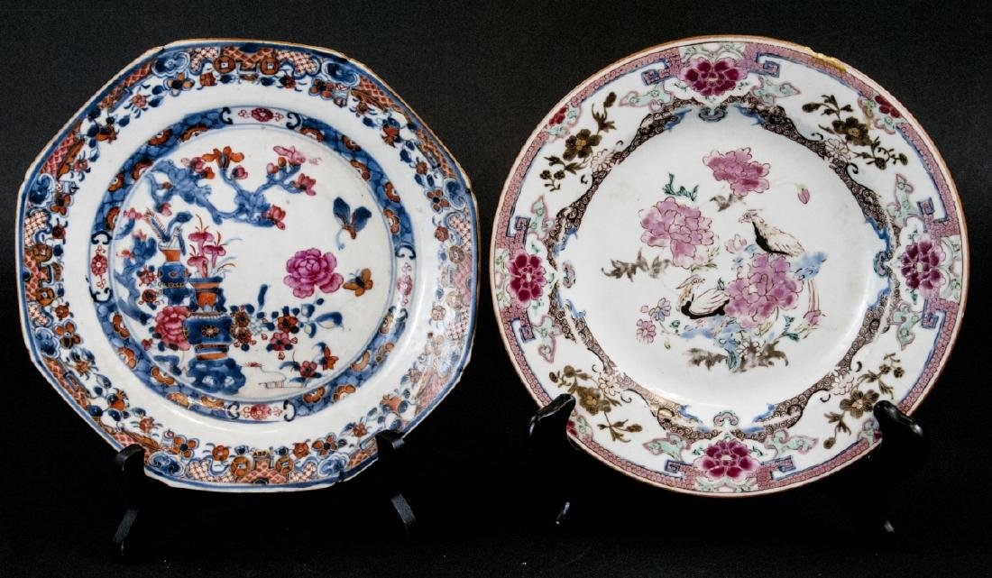 Two Antique Chinese Hand Painted Porcelain Plates