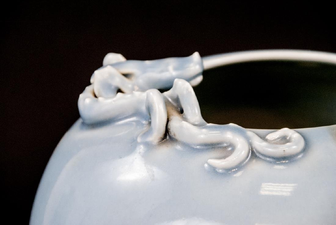 Chinese Porcelain Robin Egg Blue Dragon Vase - 4