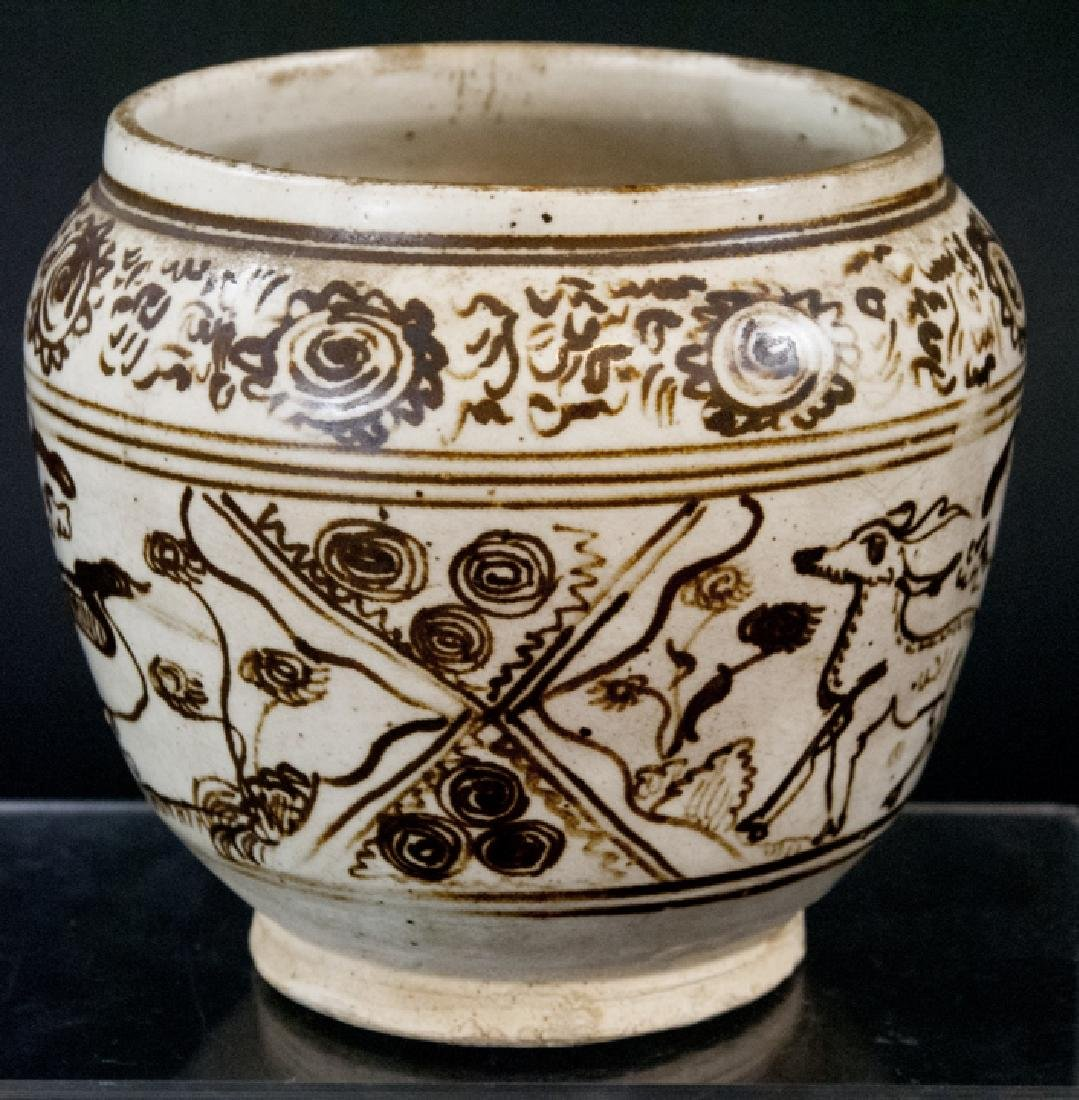 Chinese Hand Painted Pot w Animal Motif
