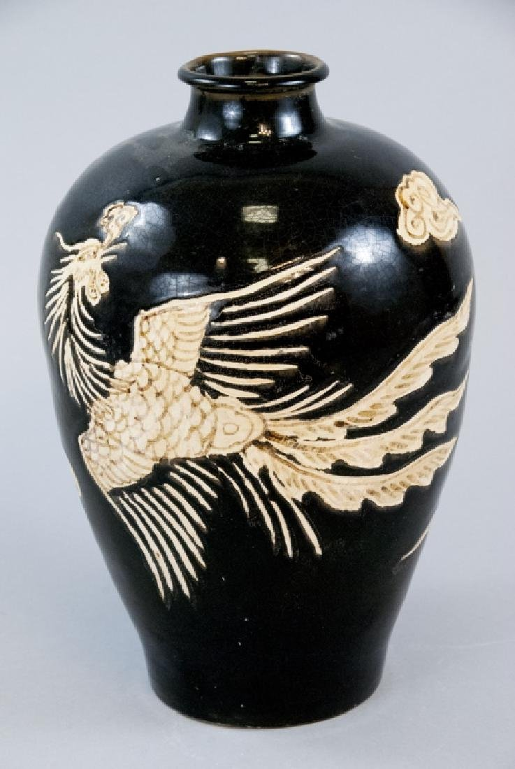 Chinese Hand Painted Phoenix & Cloud Vase
