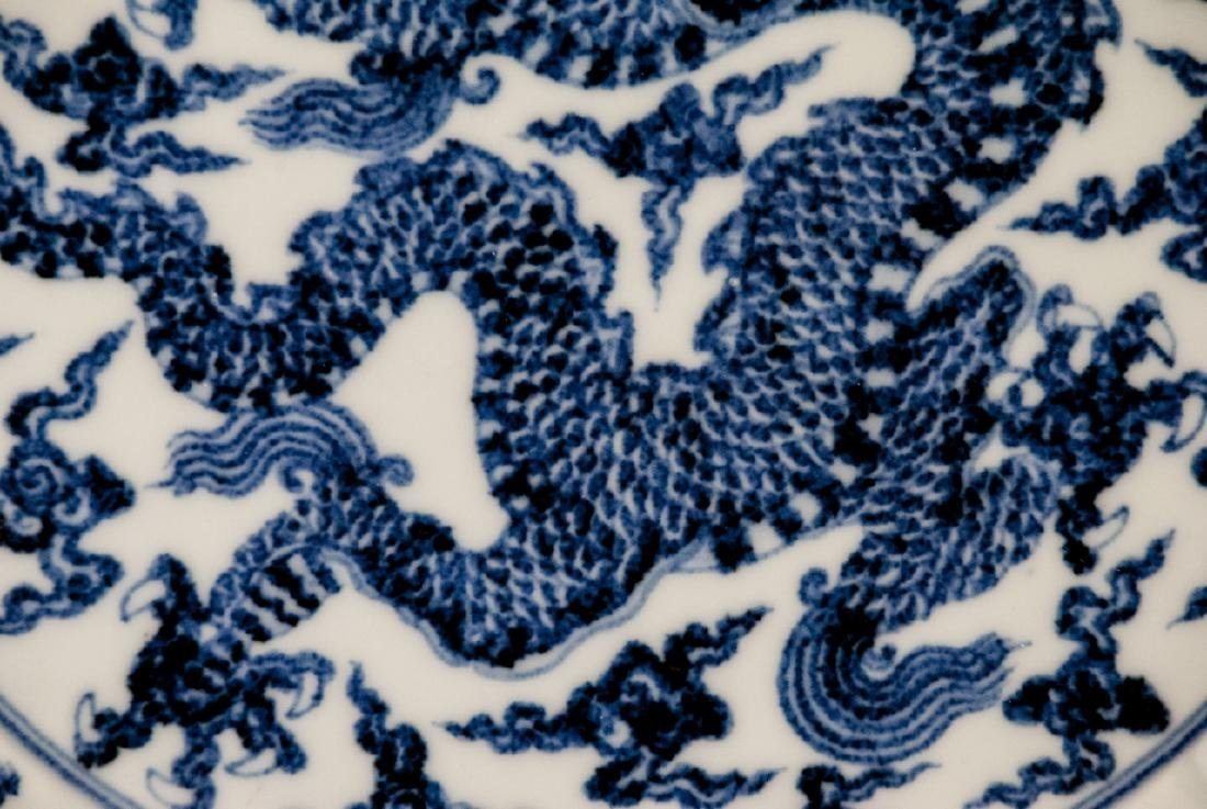 Large Chinese Hand Painted Dragon Charger - 3