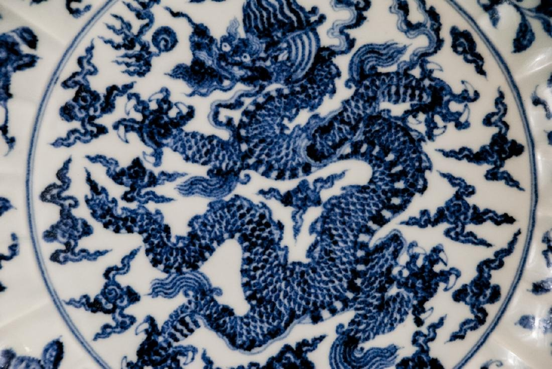 Large Chinese Hand Painted Dragon Charger - 7