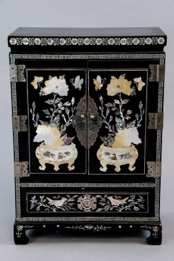 Chinese Inlaid & Lacquer Finish Jewelry Chest