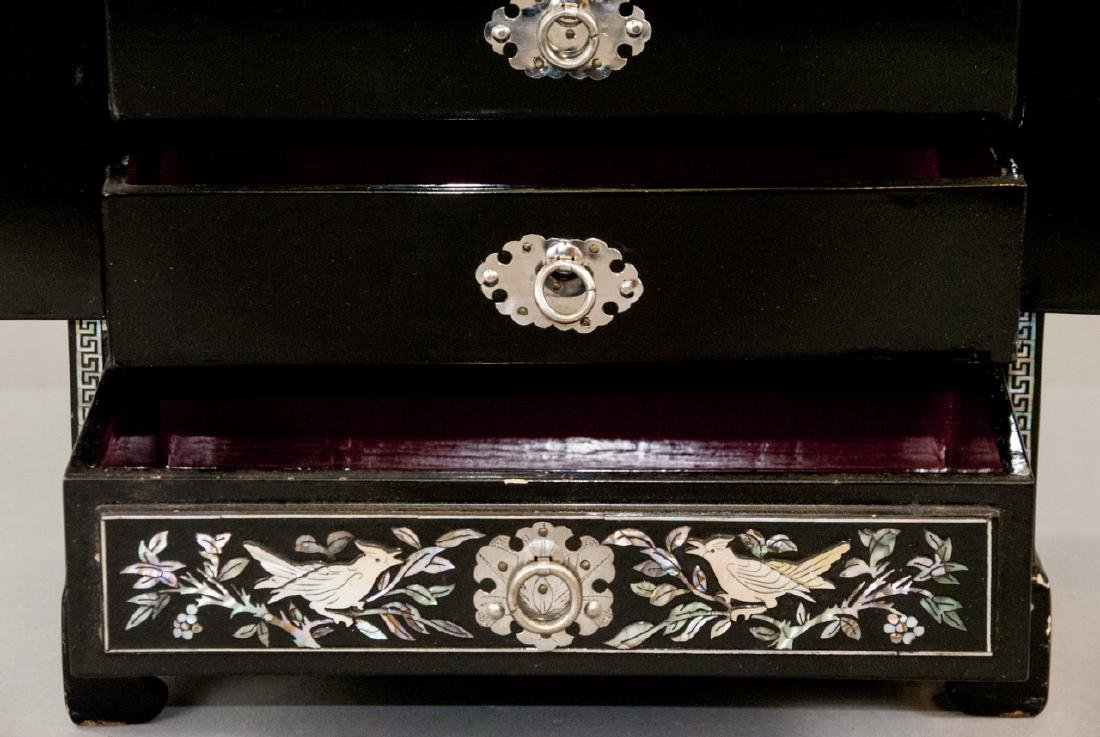 Chinese Inlaid & Lacquer Finish Jewelry Chest - 3
