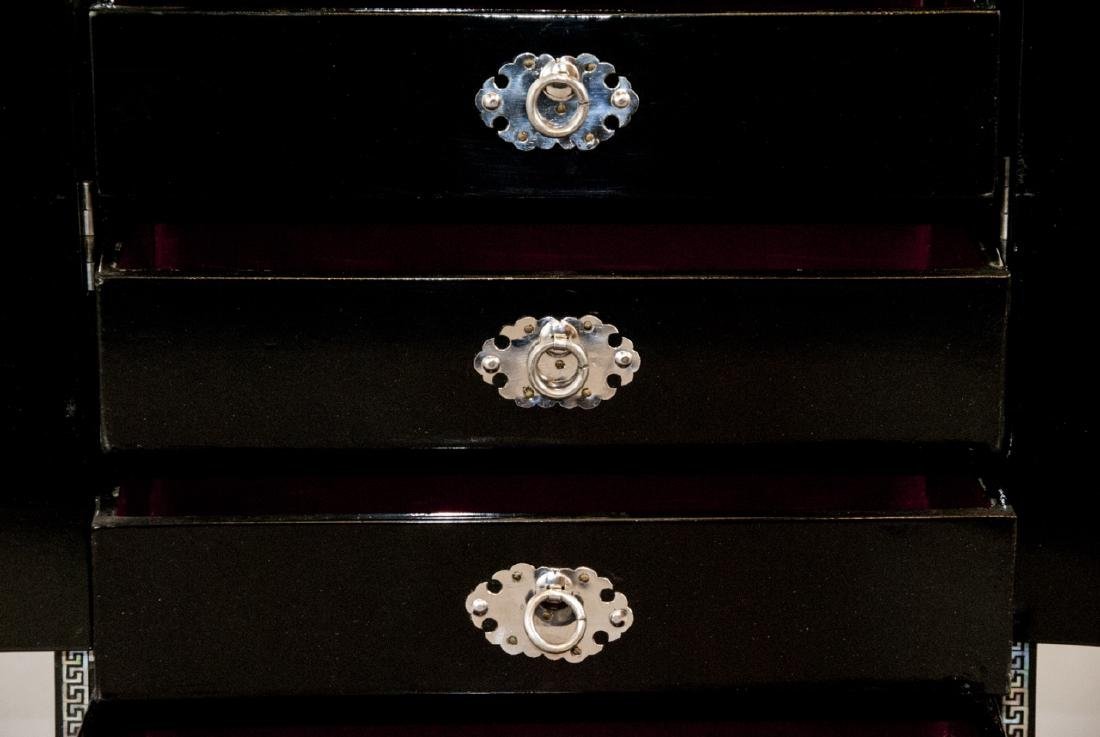 Chinese Inlaid & Lacquer Finish Jewelry Chest - 4