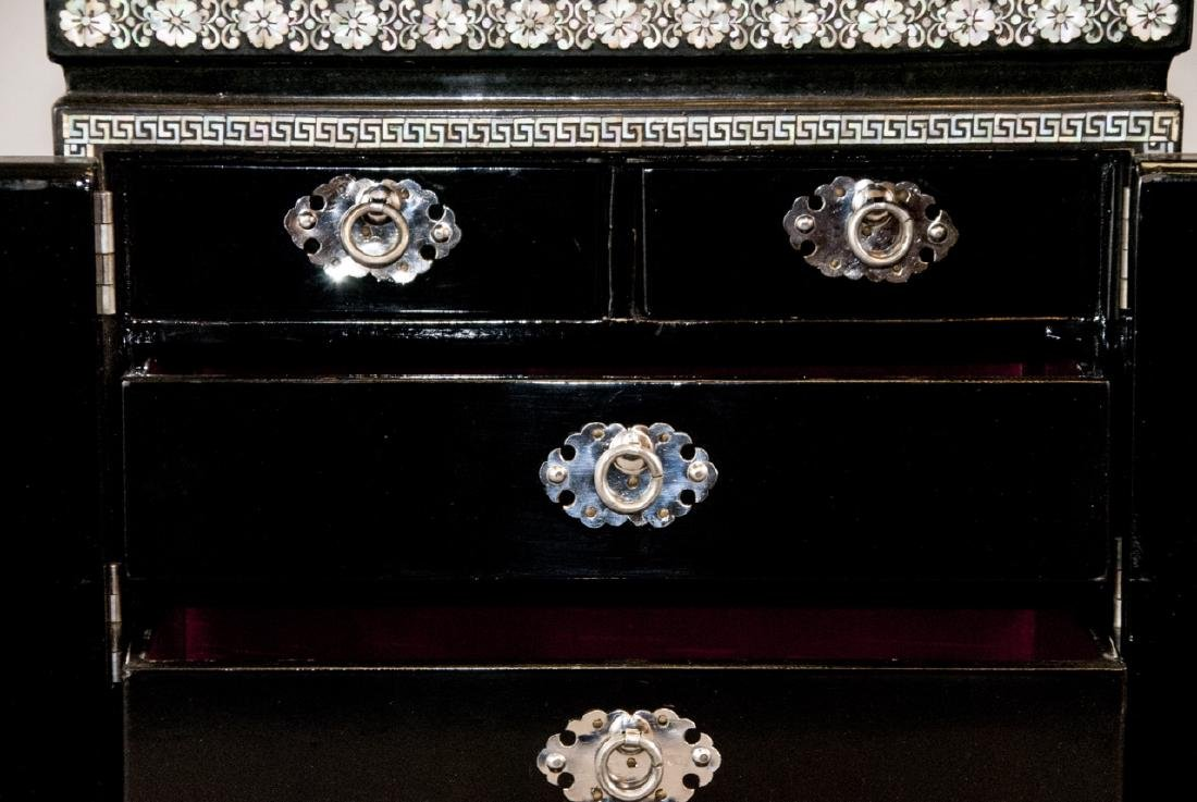 Chinese Inlaid & Lacquer Finish Jewelry Chest - 5