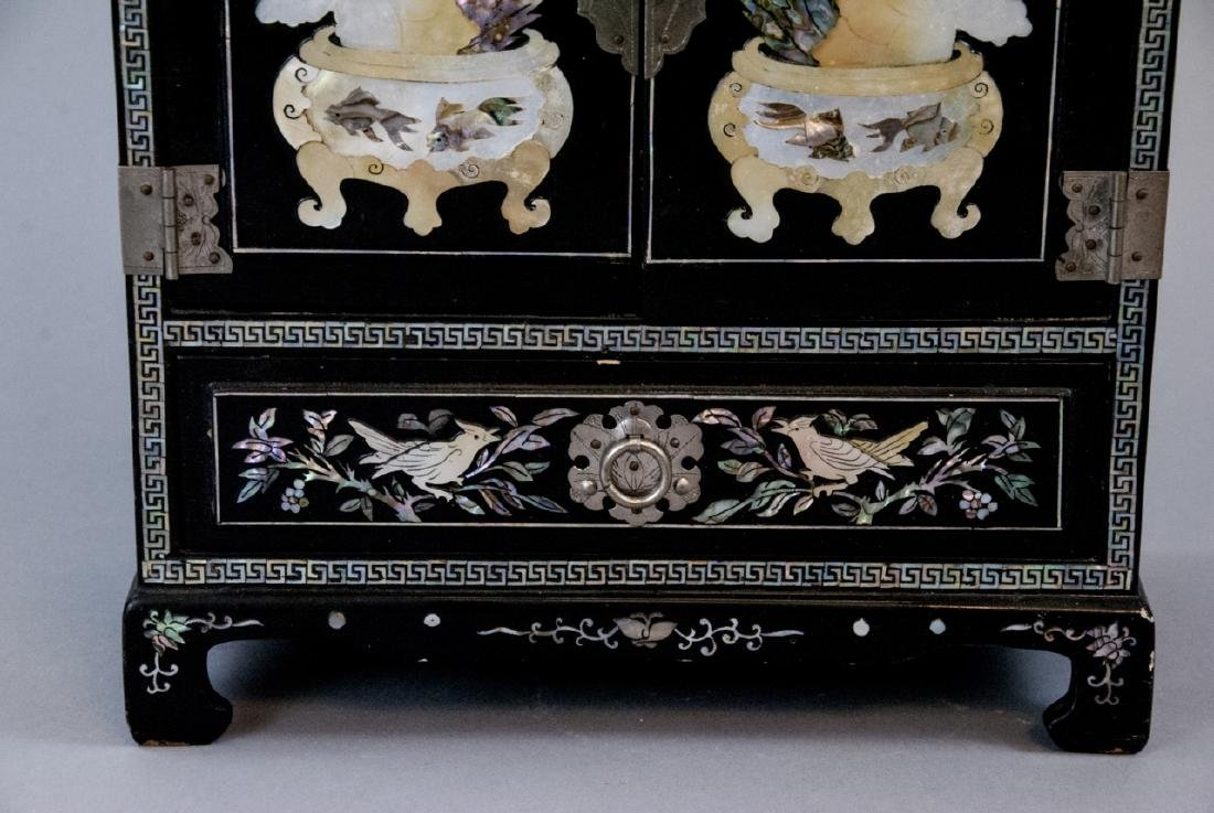 Chinese Inlaid & Lacquer Finish Jewelry Chest - 7
