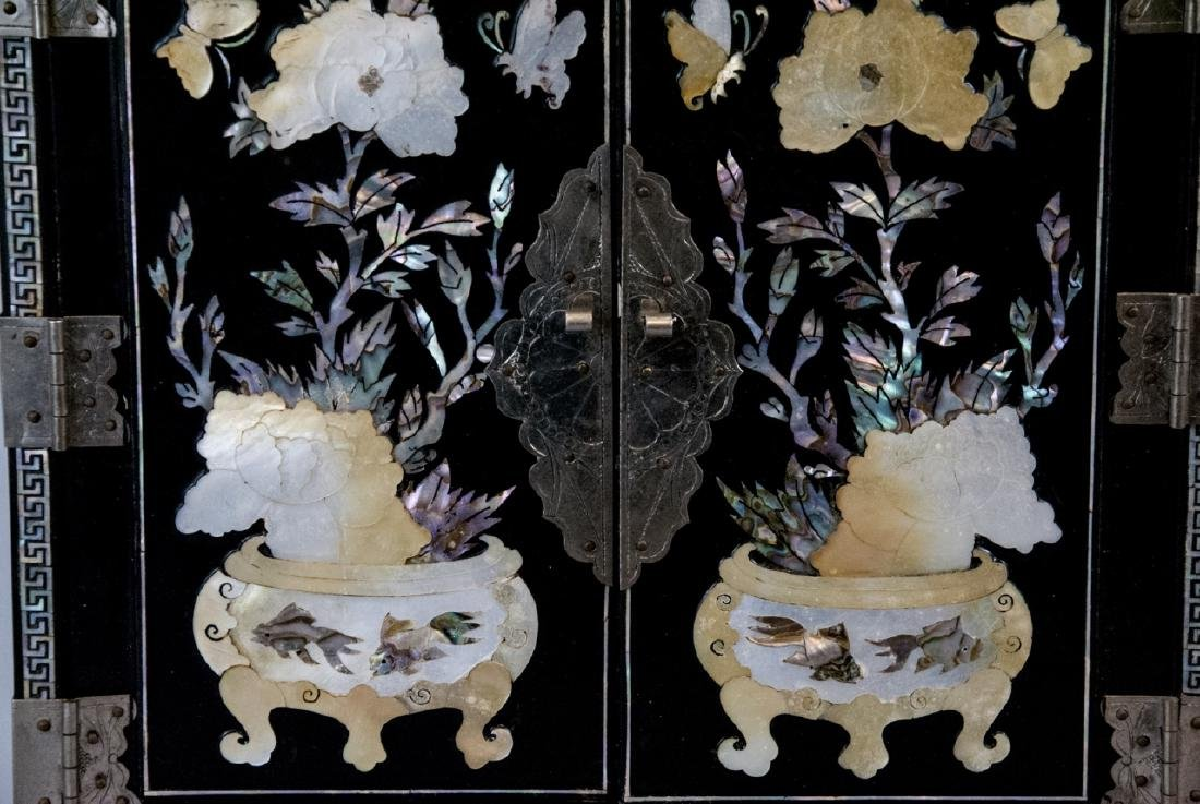 Chinese Inlaid & Lacquer Finish Jewelry Chest - 8