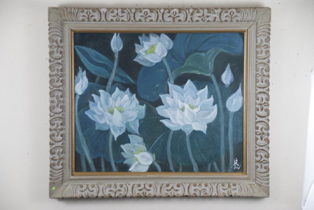 Chinese Signed & Framed Painting of Lotus Flowers