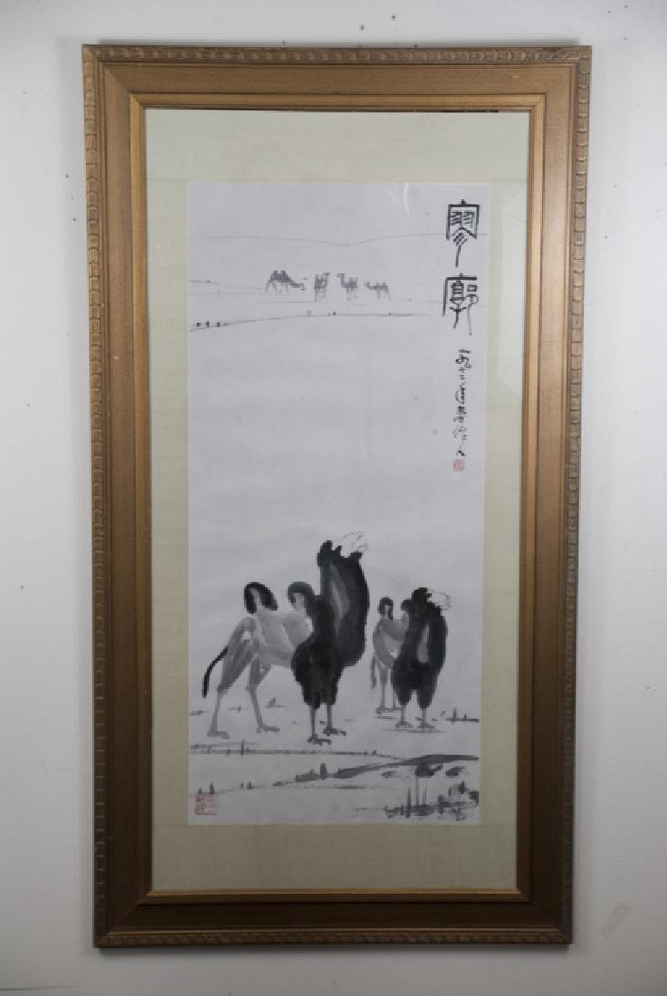 Large Chinese Signed Ink Painting of Camels