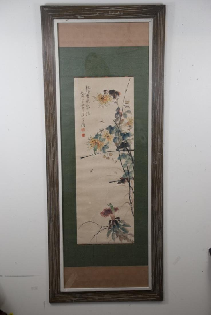 Large Chinese Signed Ink Painting of Flowers