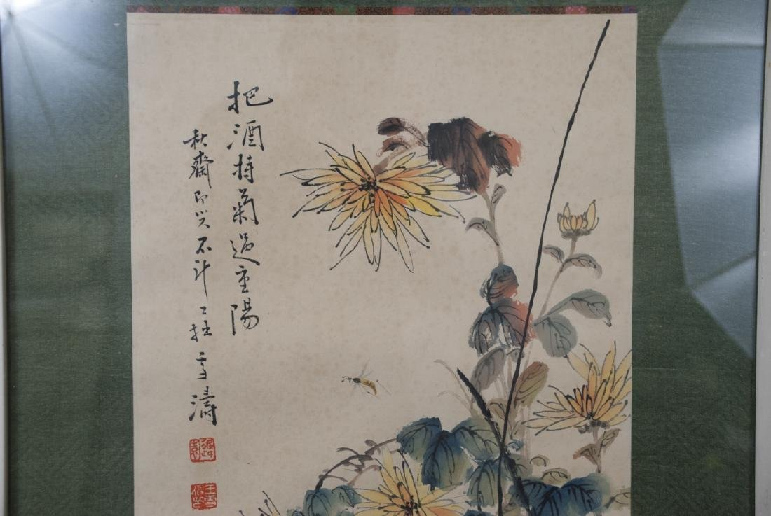 Large Chinese Signed Ink Painting of Flowers - 4