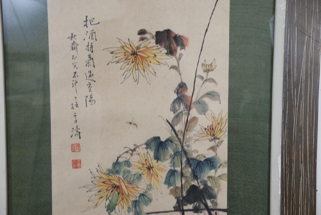Large Chinese Signed Ink Painting of Flowers - 5