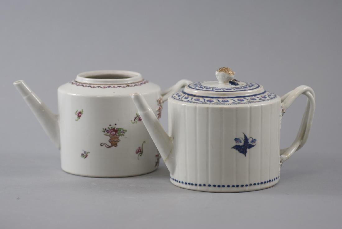 Two Antique Chinese Export Porcelain Tea Pots