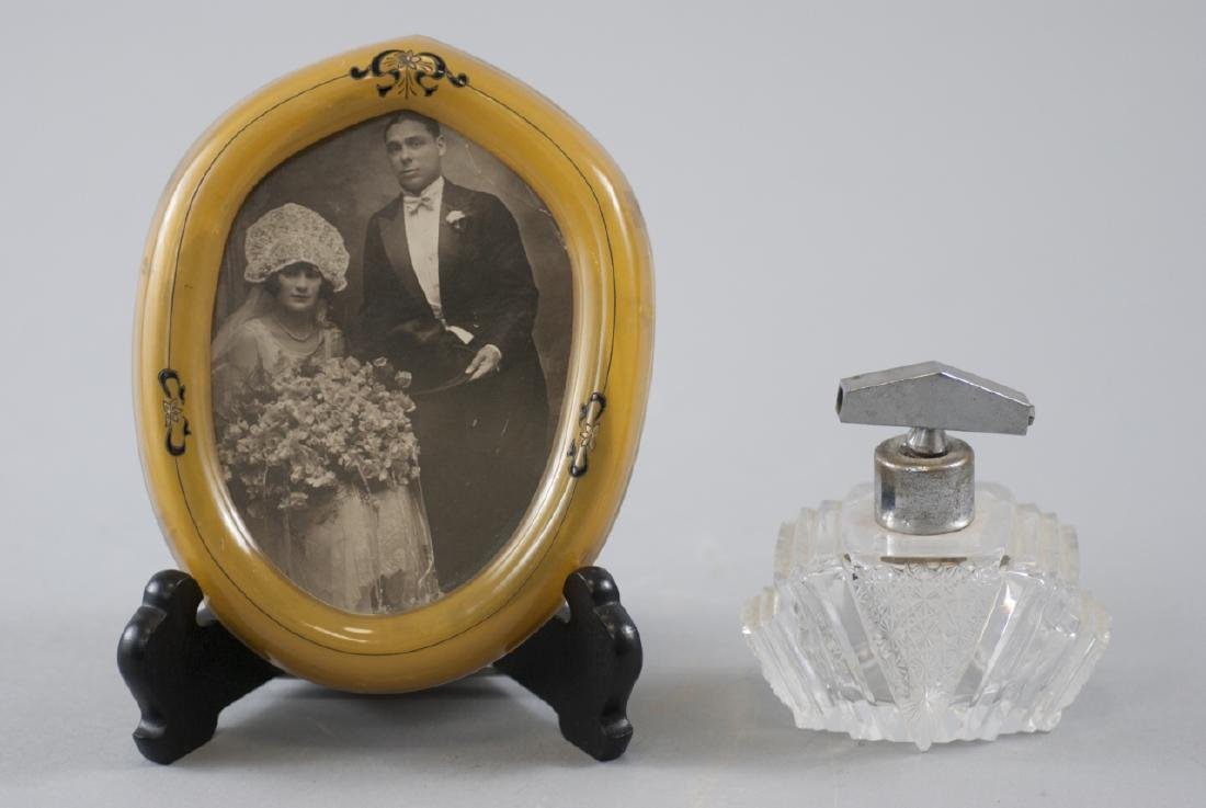 Antique Art Deco Picture Frame & Perfume Bottle