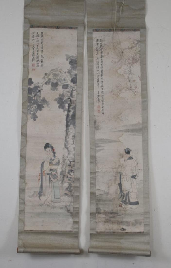 Pair of Chinese Hand Painted & Signed Scrolls