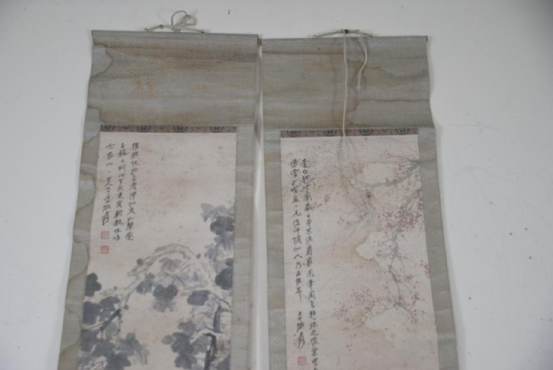 Pair of Chinese Hand Painted & Signed Scrolls - 6