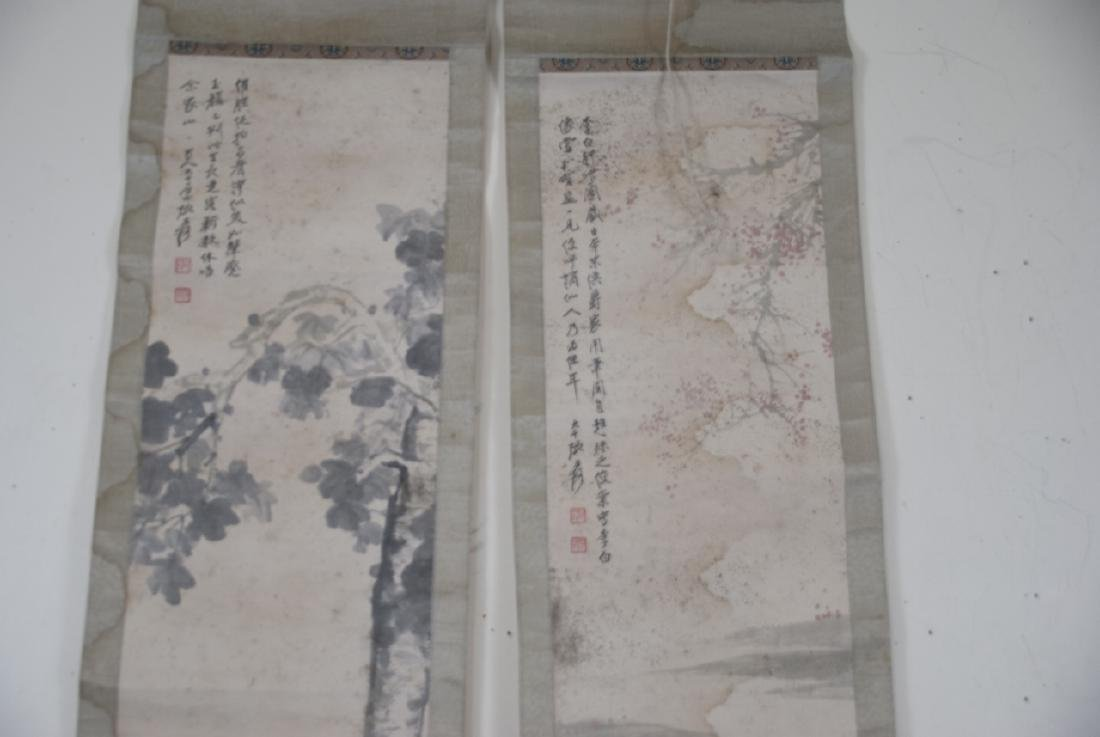 Pair of Chinese Hand Painted & Signed Scrolls - 7