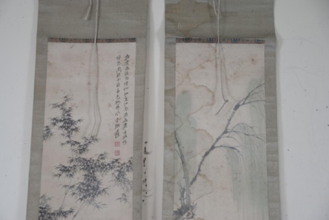 Pair of Chinese Hand Painted & Signed Scrolls - 4