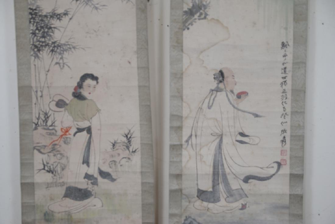 Pair of Chinese Hand Painted & Signed Scrolls - 5