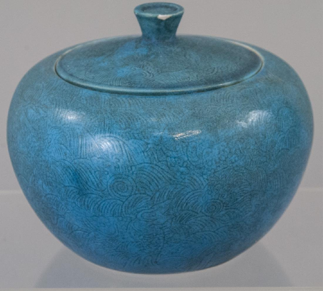 Vintage Robins Egg Blue Lidded Jar With Felt Box