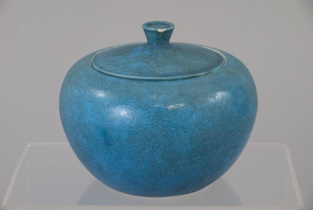 Vintage Robins Egg Blue Lidded Jar With Felt Box - 2