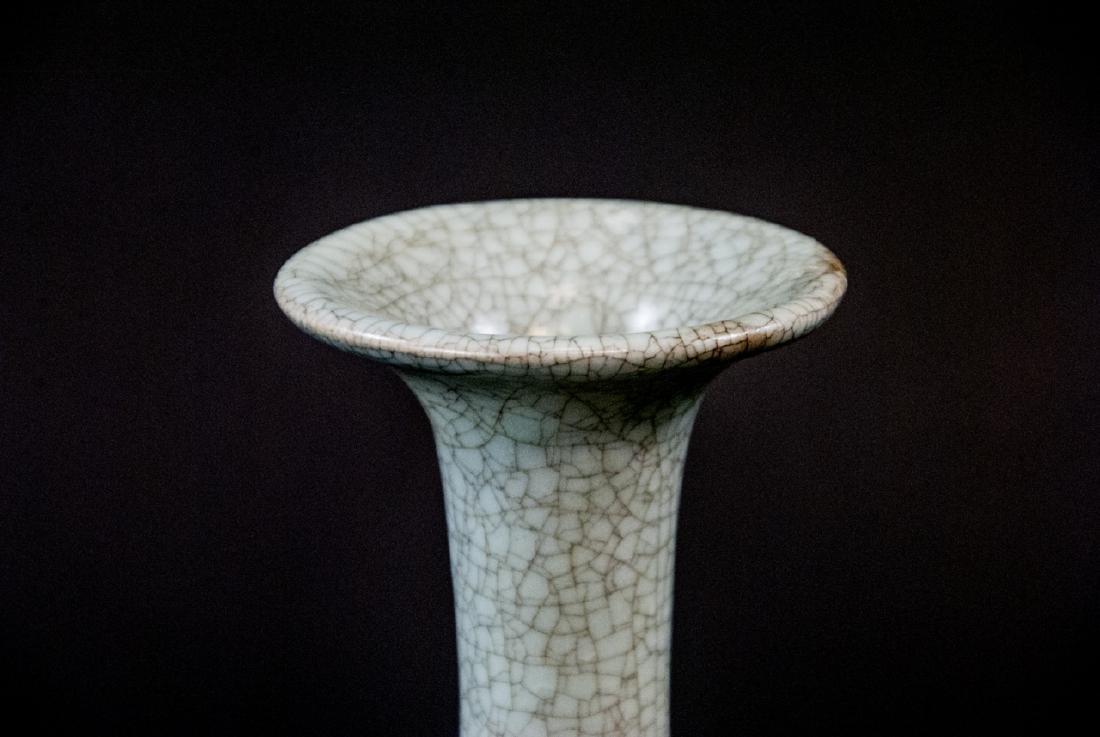 Light Green Celadon Crackleware Vase With Stand - 2