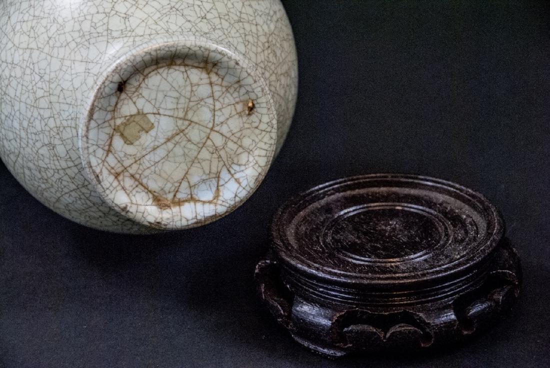 Light Green Celadon Crackleware Vase With Stand - 3