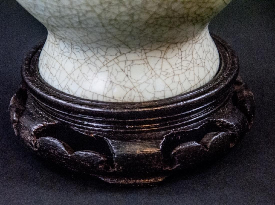 Light Green Celadon Crackleware Vase With Stand - 5