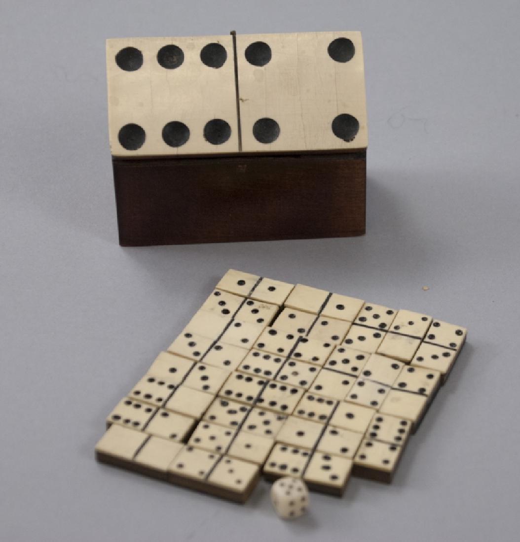 Antique Carved Bone & Wood Set of Dominoes