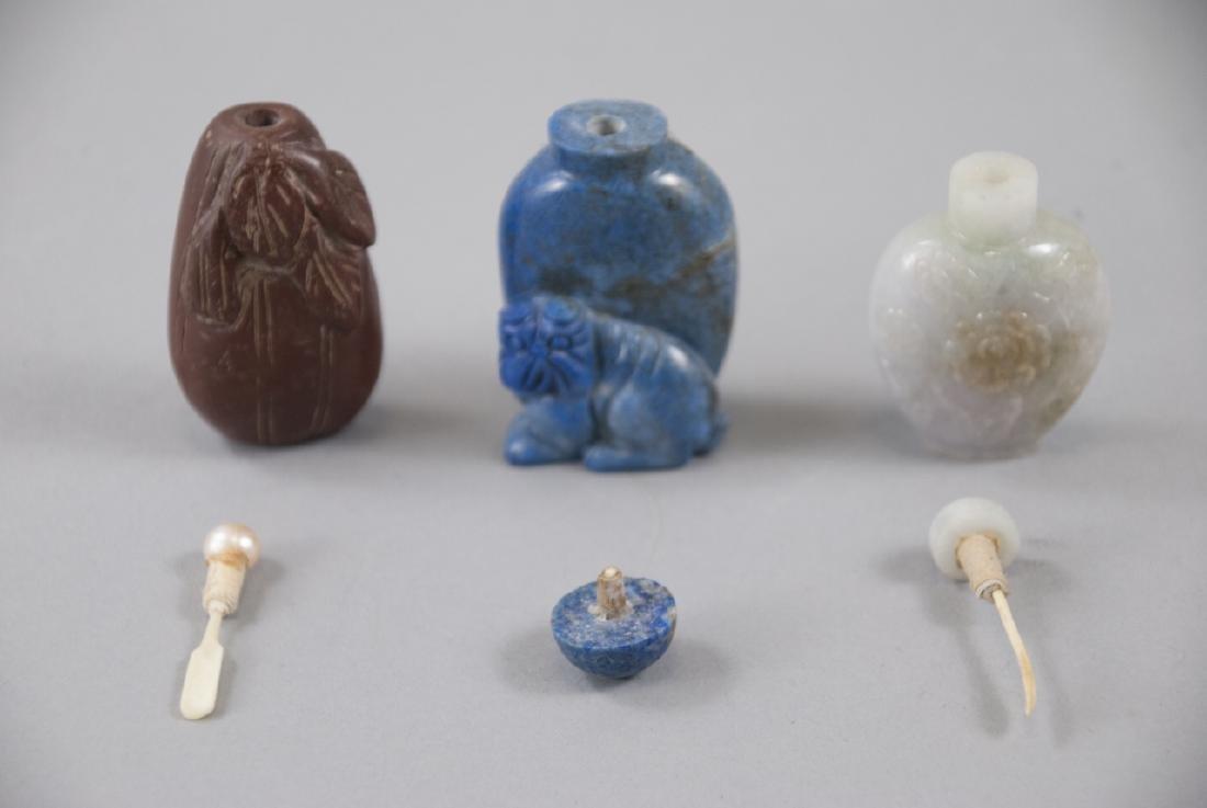 Three Chinese Carved Lapis & Jade Bottles