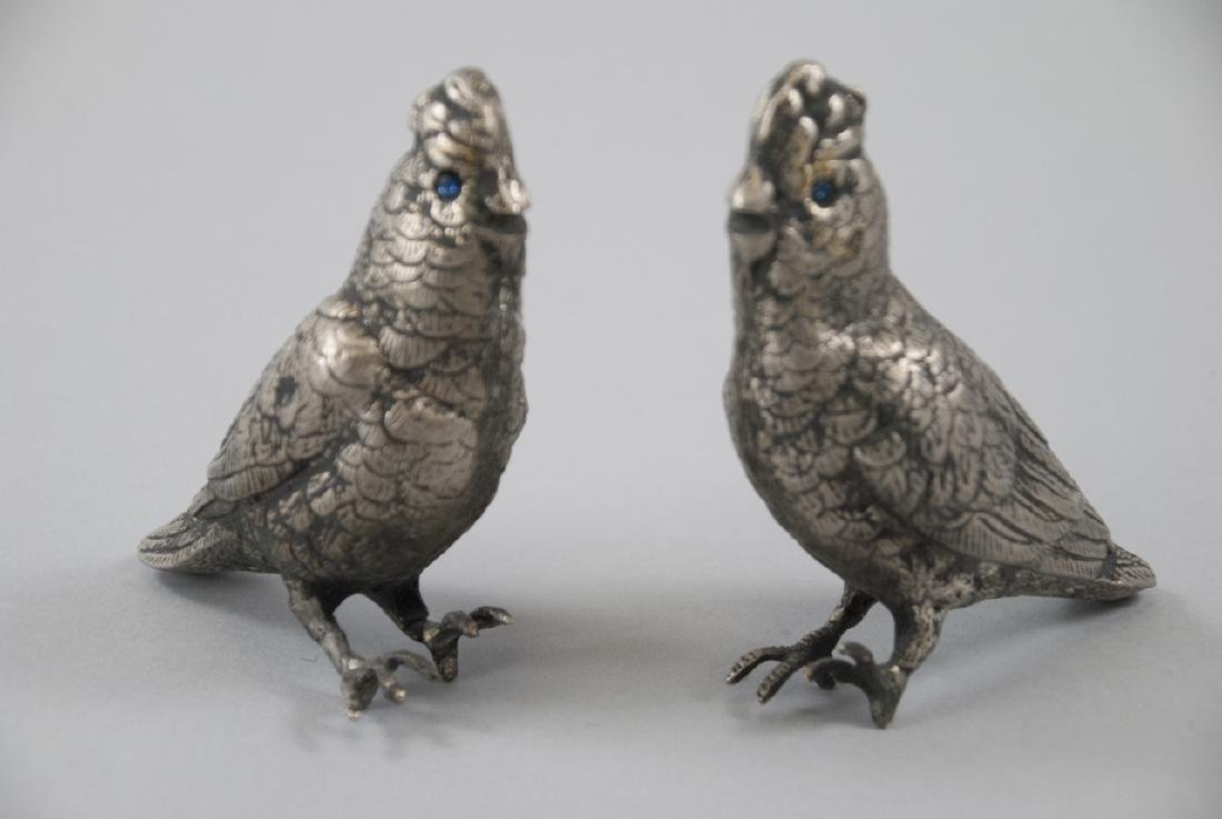 Pair of Chinese Silver Tone Bird Statues