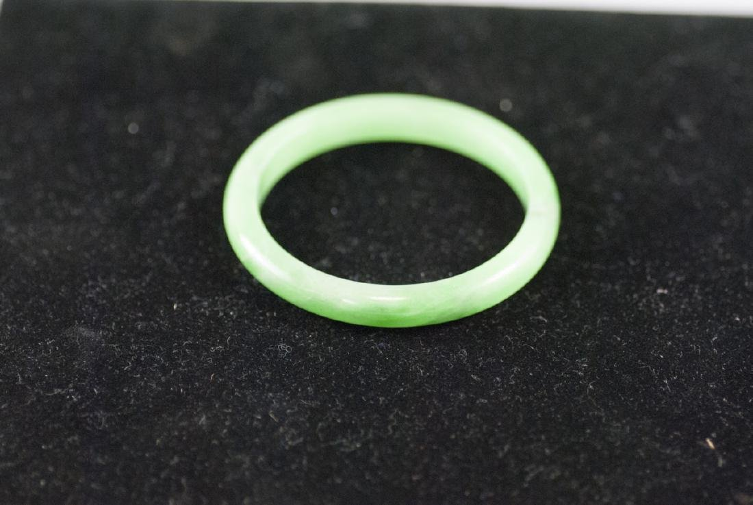 Chinese Green Jade Carved Bangle Bracelet
