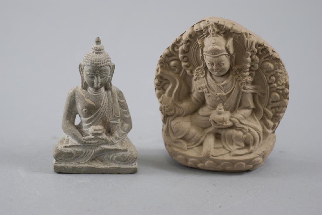 Two Chinese / Asian Carved & Cast Buddha