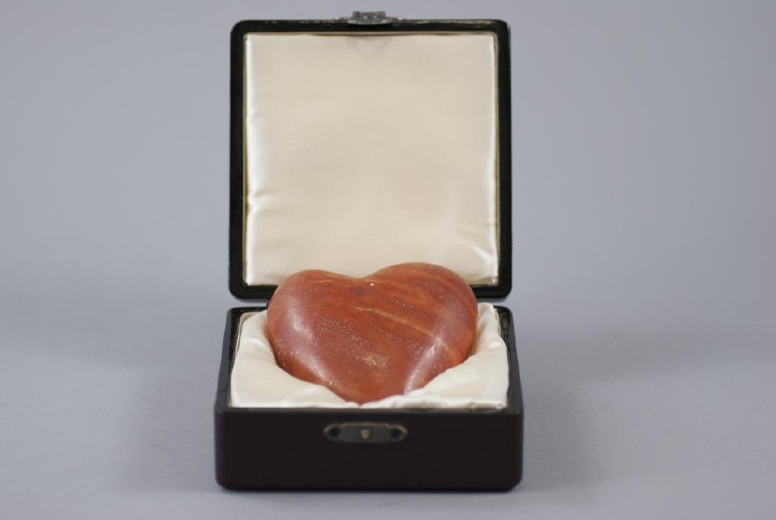 Hand Carved Hardstone Heart Paperweight / Statue