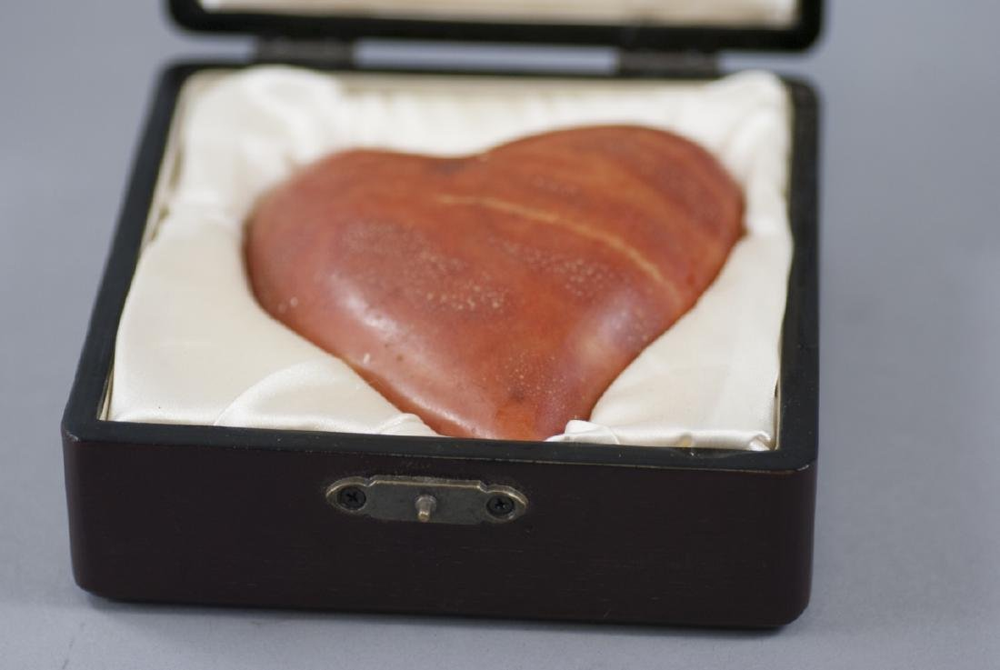 Hand Carved Hardstone Heart Paperweight / Statue - 3