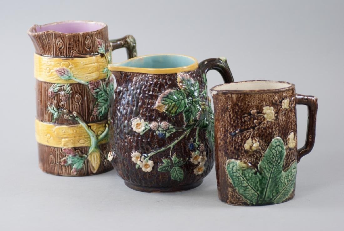 Three Assorted Vintage Majolica Water Pitchers