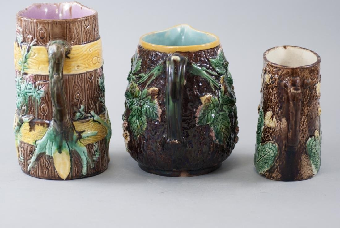 Three Assorted Vintage Majolica Water Pitchers - 3