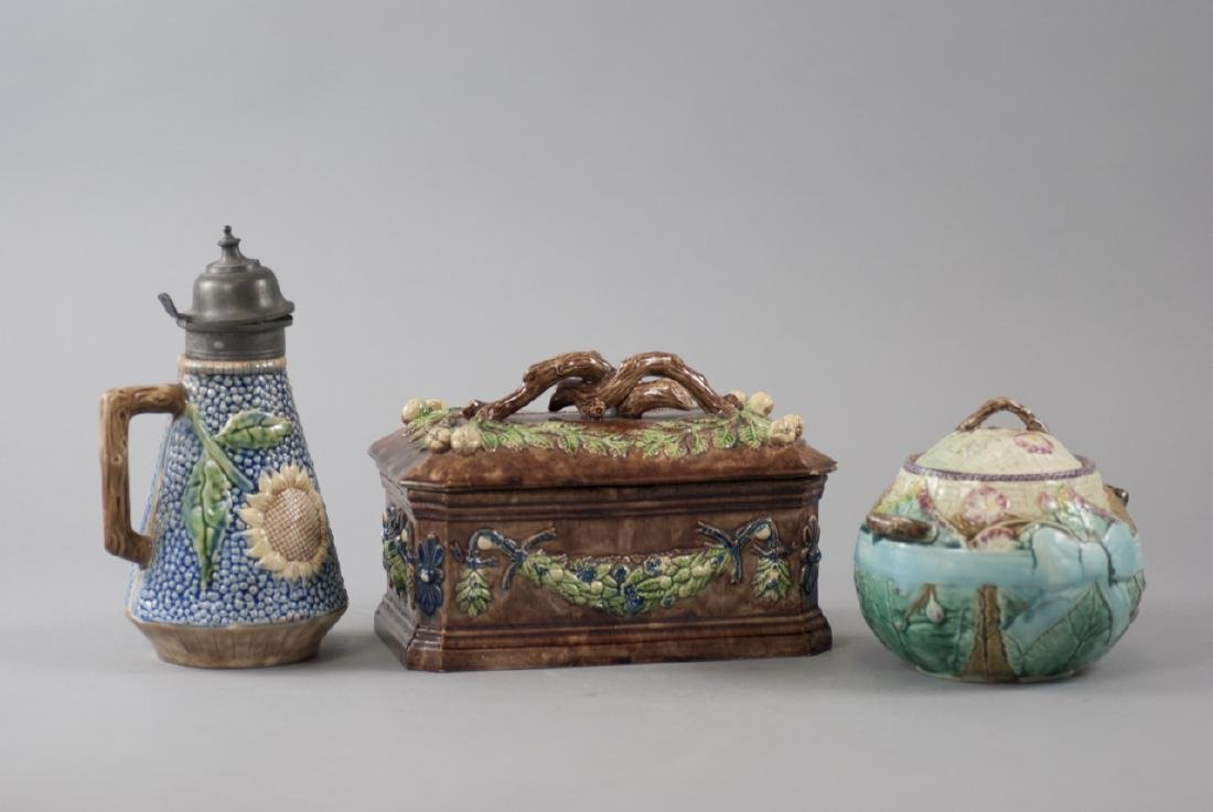 Three Vintage Majolica Containers & Decanter