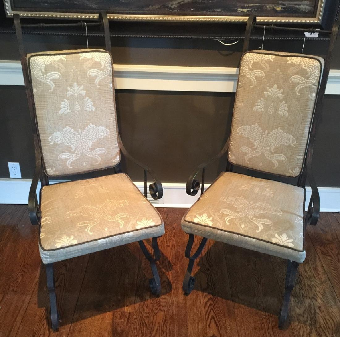 Pair Wrought Iron Spanish Revival Armchairs
