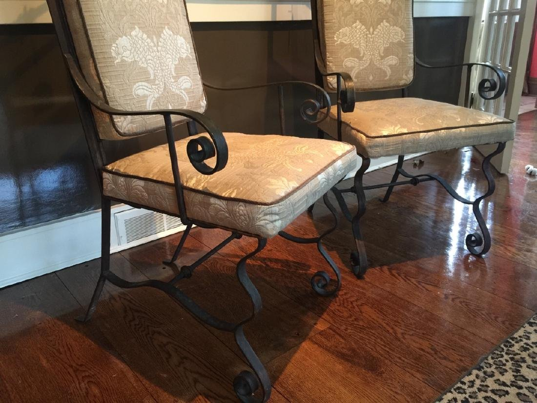 Pair Wrought Iron Spanish Revival Armchairs - 3