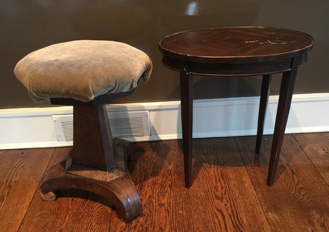 Antique 19th C Piano Stool & Oval End Table