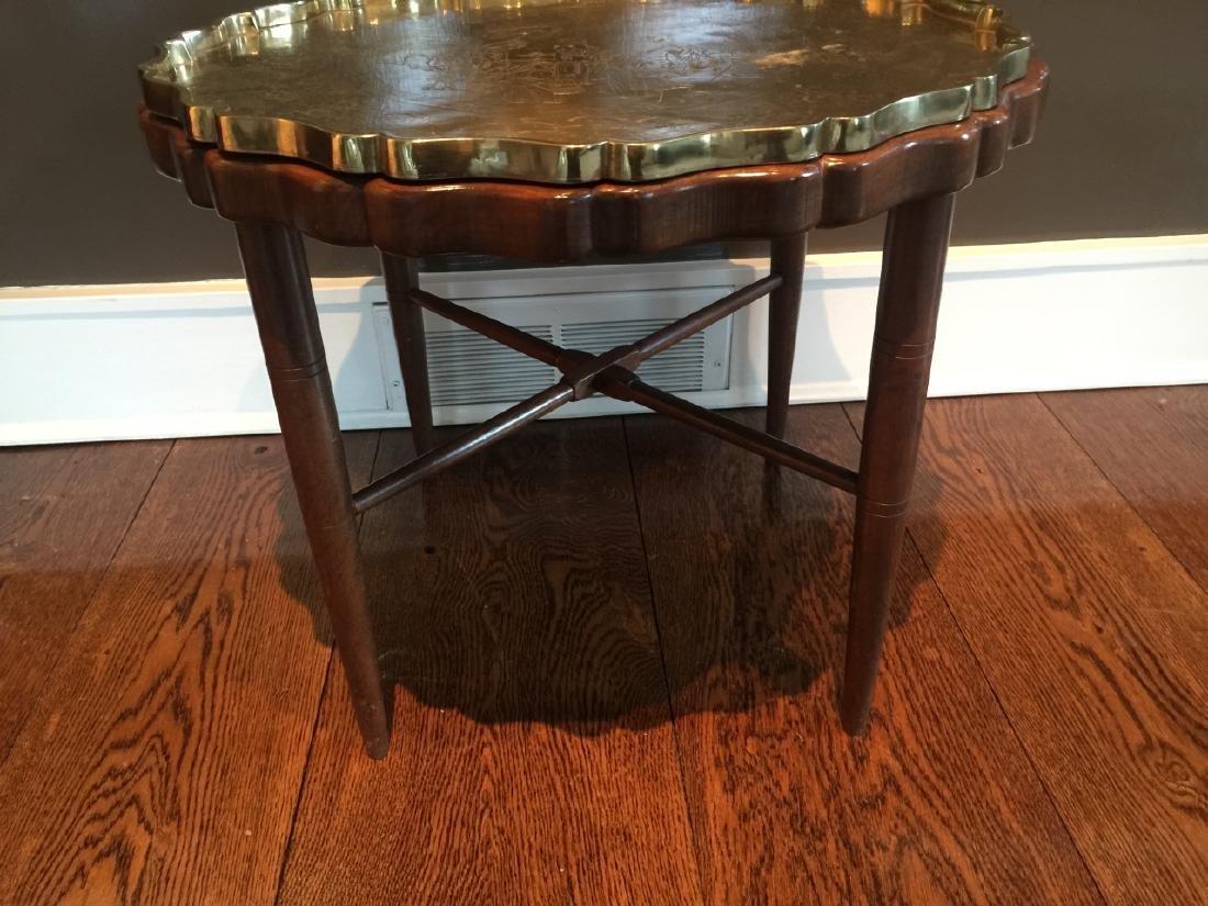 Custom Made Coffee Table w Chinese Brass Tray - 4