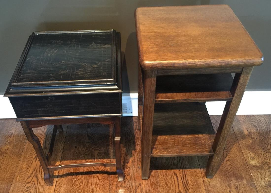 Chinese End Table & Antique American Oak End Table