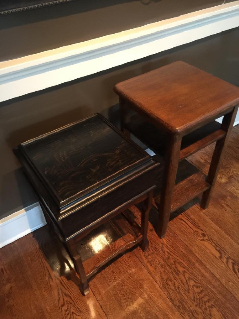 Chinese End Table & Antique American Oak End Table - 2
