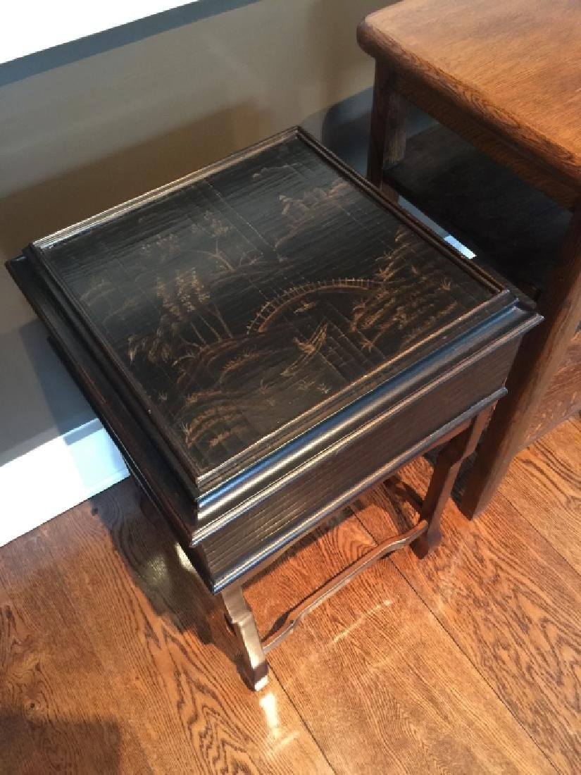 Chinese End Table & Antique American Oak End Table - 3