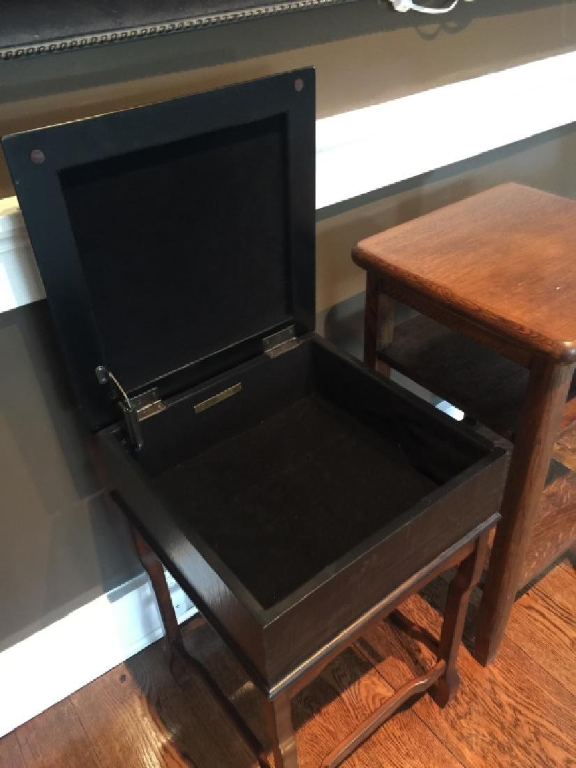 Chinese End Table & Antique American Oak End Table - 4