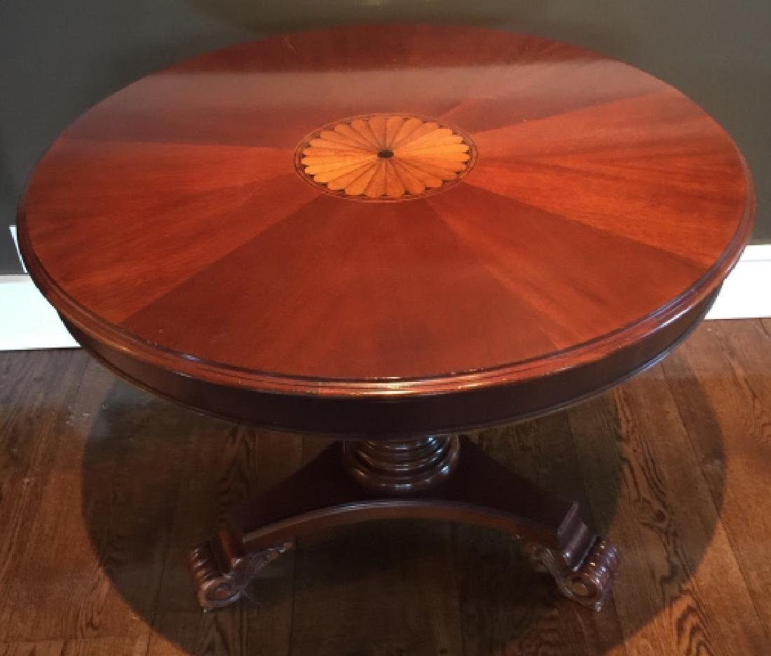 Contemporary Traditional Inlaid Pedestal Table